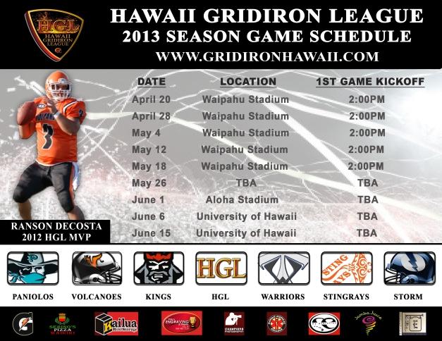 HGL 2013 Game Schedule